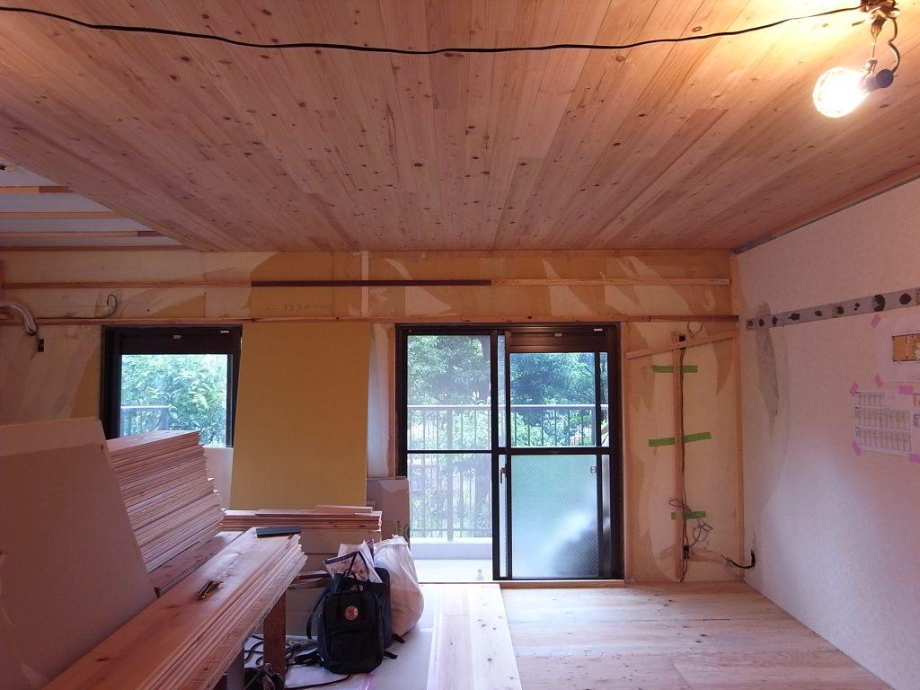 マンション,リノベーション,無垢,天井,杉